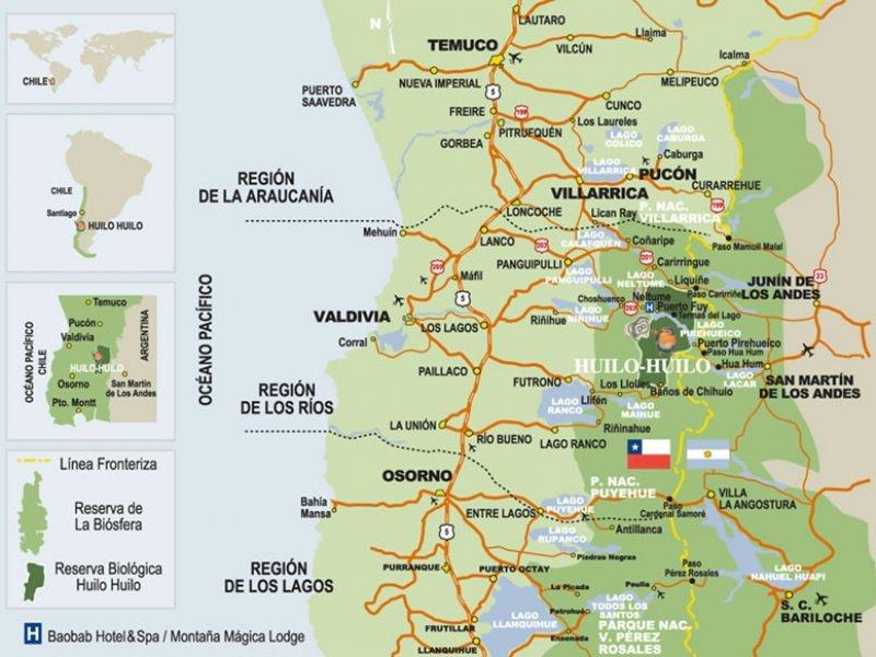 mapa Huilo Huilo