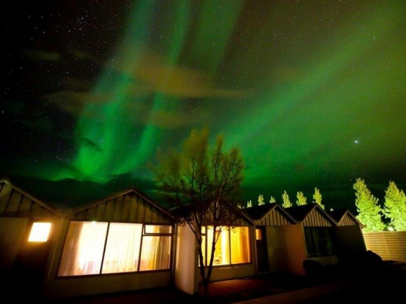 Aurora Boreal vista do Hotel Fludir