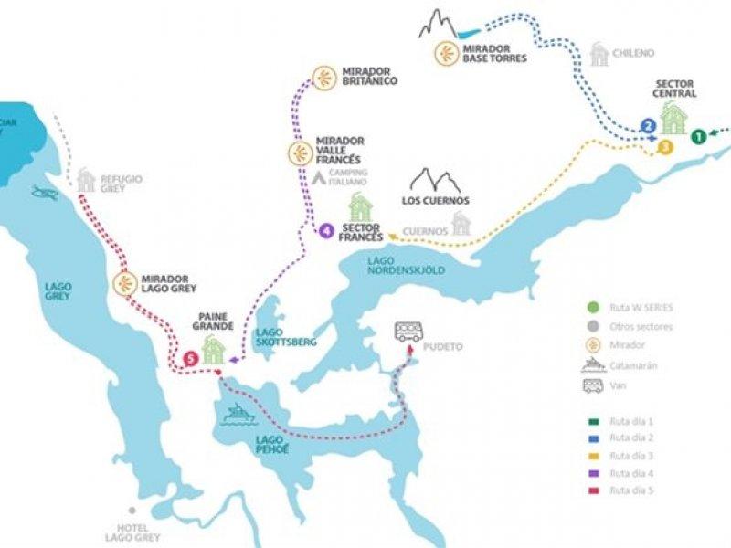 mapa W Trekking Patagonia em refugios
