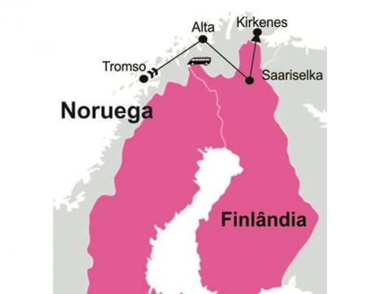 Mapa - Inverno na Laponia - Luzes Noruega e Finlandia